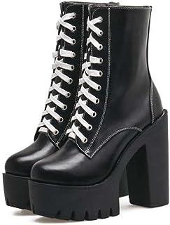 Femmes 12cm Chunkly 4.5cm Plate-forme Imperméable Martin Bottes Punk Bottes Beau Round Toe Shoelace Zipper Parti Bottes Eu Taille 34-40