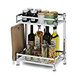 Stainless Steel Free Punch Kitchen Shelf Floor Knife Holder Table Supplies Spice Rack Kitchenware Storage Shelf (Size : B)