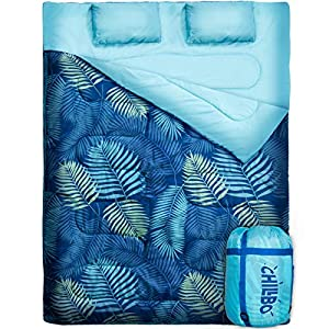 Chillbo Double Sleeping Bag for Adults Queen Sleeping Bag for Backpacking, Camping, Hiking & Music Festivals Cool Patterns Queen Size XL 2 Person Sleeping Bags for Adults (Blue Leaf)