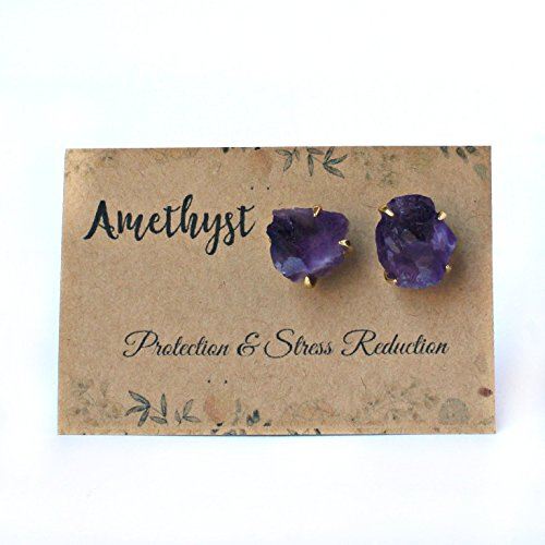 Handmade Raw Natural Amethyst Stud Earrings Set in 14K Gold Plated Claw Prongs