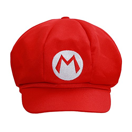 XCOSER Classical Super Bro Hat Cap for Halloween Costume Red