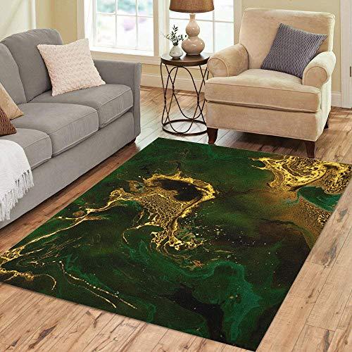 Pinbeam Area Rug Green Emerald and Golden Mixed Paints Creative Technique Home Decor Floor Rug 5' x 7' Carpet