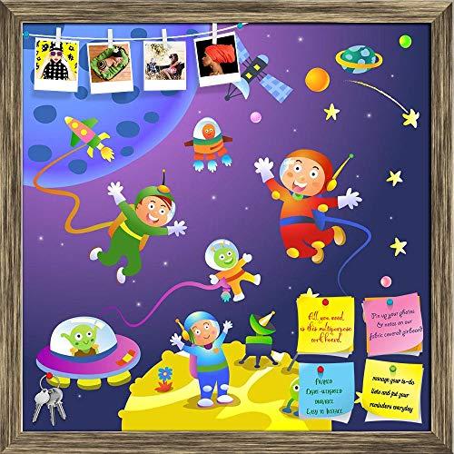ArtzFolio Boy Girl Astronaut in Space Scenes Printed Bulletin Board Notice Pin Board Soft Board | Antique Golden Frame 20 X 20Inch (B07GD2SXRJ) Amazon Price History, Amazon Price Tracker