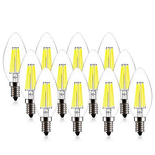 CREATE BRIGHT C35 Edison Blunt Tip Filament Candelabra LED Bulb,6W(60W Incandescent Equivalent),Dimmable LED Candle Bulbs,E12 Base Lamp,520lm,6400K Daylight,360°Beam Angle,ETL Listed,Pack of 12 -
