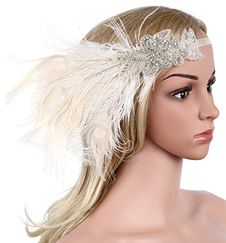 BABEYOND Womens Peacock Gatsby Party Wedding Headband with Ribbon Flapper Costumes Accessories Peacock Headband with Feather Apricot