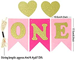 Glitter Gold Letter Felt Banner for High Chair or Wall Decor Honbay Baby 1st Birthday Party Decorations Pink