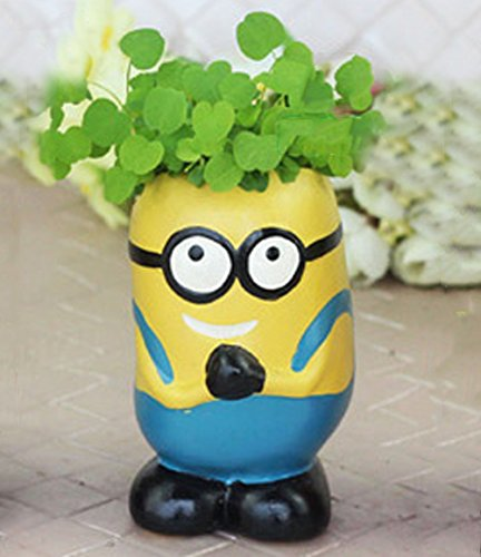 YOURNELO Ceramic Cartoon Minions Mini Plant Flower Pot Pencil Holder Succulent Planters Vase (Blue)]()