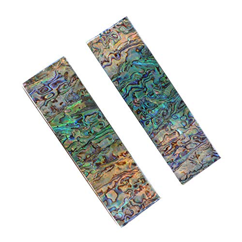 (RECHERE 2pcs Knife Handle Scale Slabs Acrylic Abalone Shell Pattern DIY Sword Gun Making Supplies 140X30X6MM)