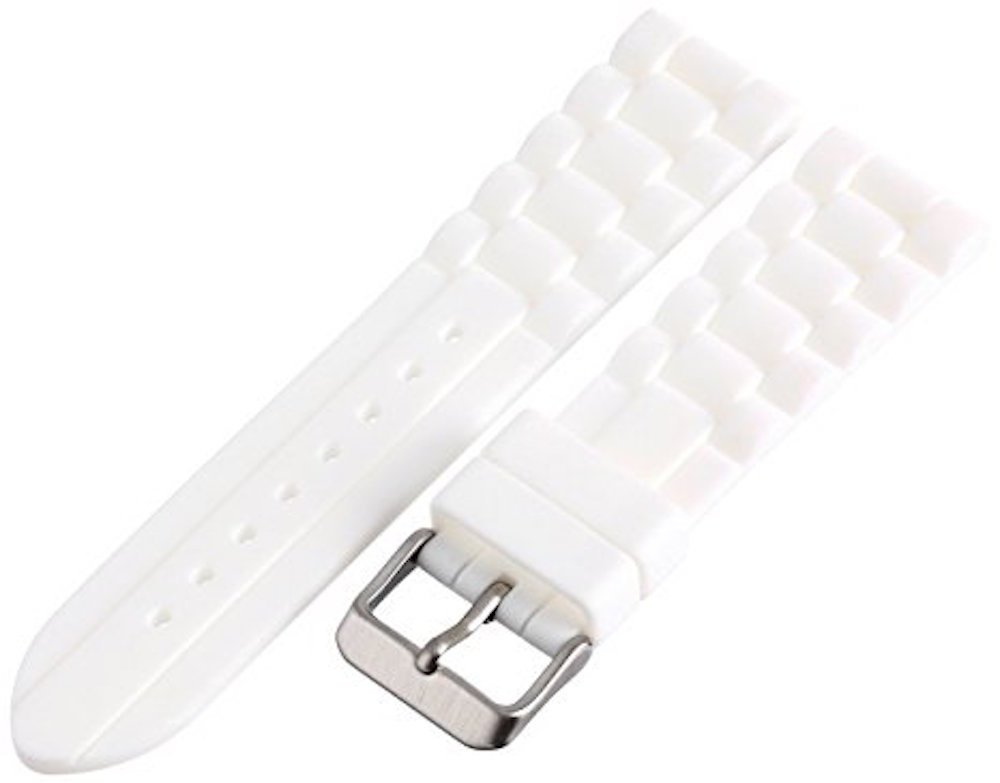 22MM WHITE RUBBER WATERPROOF SPORT DIVER WATCH BAND STRAP FITS FOSSIL