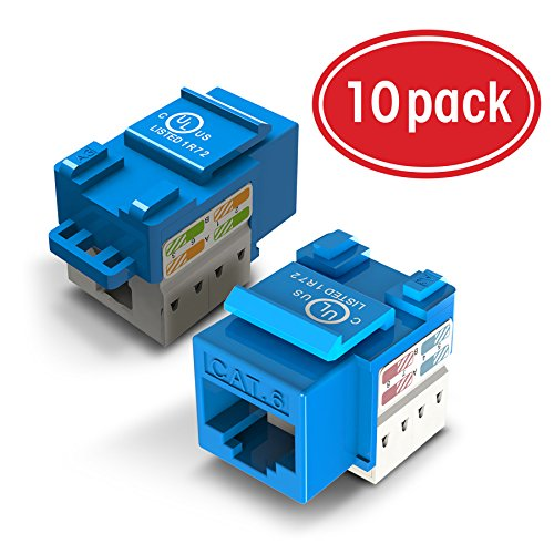 10-Pack Ethernet Keystone, GearIT Cat6 RJ45 Punch-Down Keystone Jack Connector, - Bl Cable Cat6 Jack