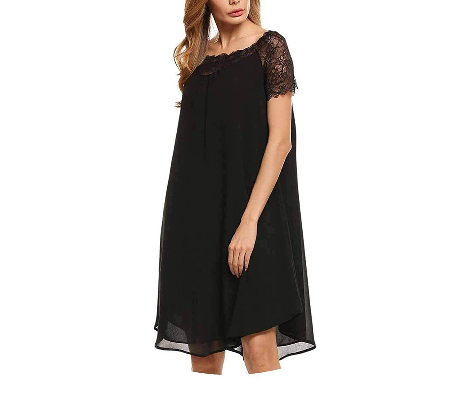 Casual Sleeve Lace Patchwork Pullover Chiffon Dress Robe Vestidos,White,S,Uted States
