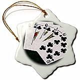 3dRose Alexis Photo-Art - Poker Hands - Poker Hands Royal Flush Clubs - 3 inch Snowflake Porcelain Ornament (orn_270297_1)