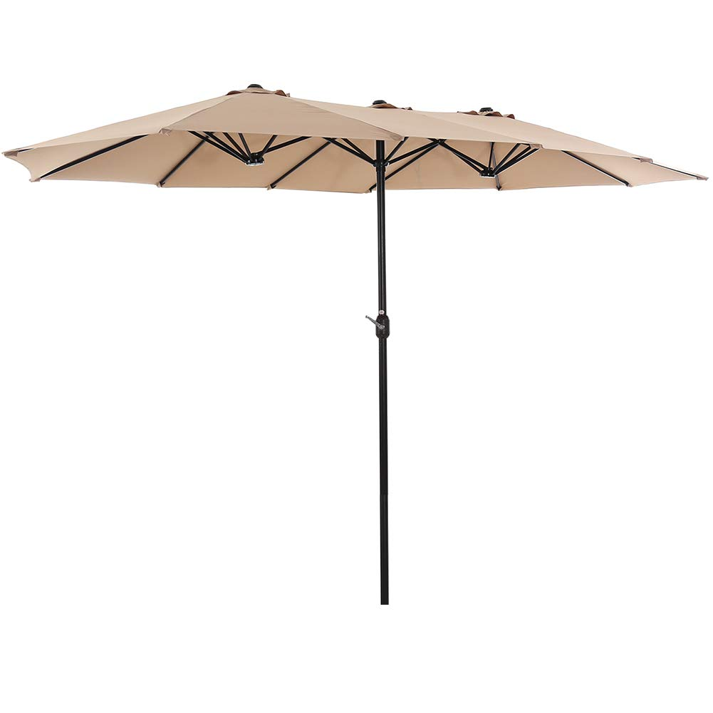 SUPERJARE 14 Ft Outdoor Patio Umbrella with 1.89 Inches Pole Caliber, Extra Large Double-Sided Design with Crank, Polyester Fabric - Beige by SUPERJARE