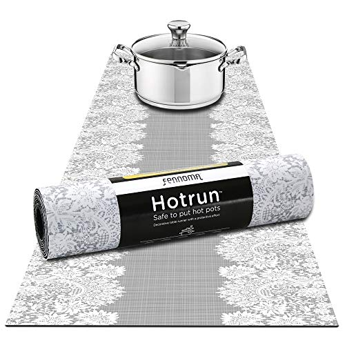 Hotrun 2 in 1 - Trivet and Decorative Table Runner Handles Heat Up to 356F, Anti Slip, Waterproof, and Convenient for Hot Dishes and Pots (Gray & lace) ()