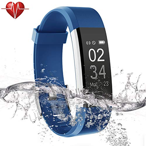 Ulvench Fitness Tracker, Heart Rate Monitor Smart Watch with Calorie Counter Watch Pedometer Sleep Monitor, Step Counter, GPS, IP67 Waterproof Activity Tracker for Android&iOS Smartphone (Blue) (App That Counts Steps And Calories Burned)