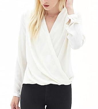 2477bc133b5867 Tymhgt Women's Casual Chiffon Blouse V Neck Wrap Front Long Sleeve T-Shirt  White XXS