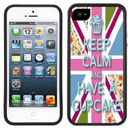 Bleib 'ruhig Cupcake | Handgefertigt | iPhone 5 5s | Schwarze Hülle