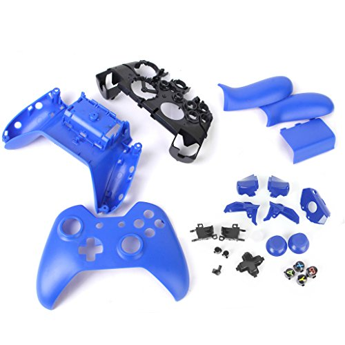 Almencla All-in-one Accessory Kit for Microsoft Xbox One Controller Case Cover Shell Front Back Faceplate Grip with Full Button Bundle - Blue