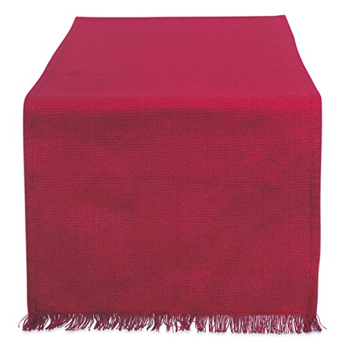 DII Cotton Woven Heavyweight Table Runner with Decorative Fringe for Spring, Summer, Family Dinners, Outdoor Parties, & Everyday Use (14x72) Wine Solid