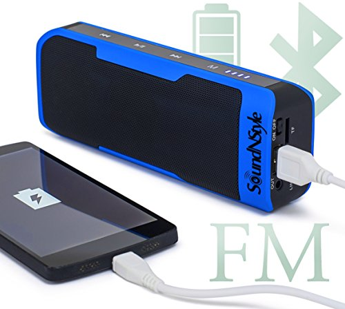 Portable Bluetooth Speaker- 4000mAh Power Bank- FM Radio- Micro SD Card Port MP3 Player All In One Portable Gadget- Supports Hands Free & Compatible With Any Bluetooth Device- With AUX