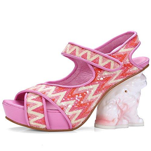 Nine Seven Cuero Moda Plataforma Puntera Abierta Zapatos de Tacón Alto con Velcro para Mujer Rosa