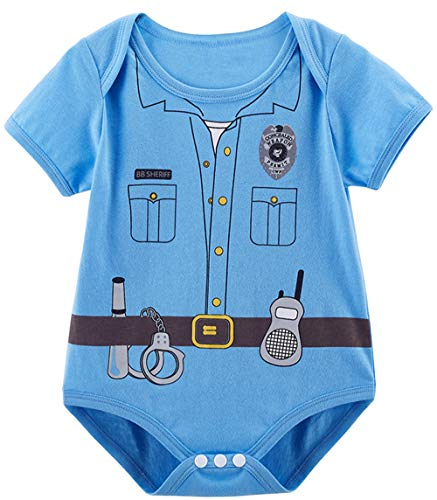 COSLAND Baby Boys' Police Costume Bodysuit (Police, 12-18 Months)]()