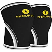 Knee Sleeve (1 Pair) 7mm Neoprene Ì Support & Compression for Squats, Weightlifting & Powerlifting Ì Crossfit Sleeves Reduces Injury Risk and Eases Knee Pain Ì Both Men & Women - By Thru Fittå»