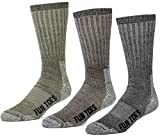 FUN TOES 3 pairs thermal insulated 80% merino wool socks men's, hiking size 8-12 (1 Black/1 Brown/1 Green)