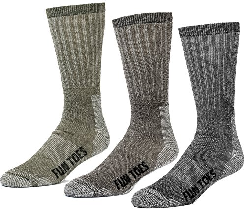 FUN TOES 3 Pairs Thermal Insulated 80% Merino Wool Socks Men's, Hiking Size 8-12 (1 Black/ 1 Brown /1 Green) (Wool Hunting Socks For Men)