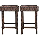F2C Brown Wicker Barstool All Weather Dining Chairs Outdoor Patio Furniture Bar Stools (Set of 2 Backless)