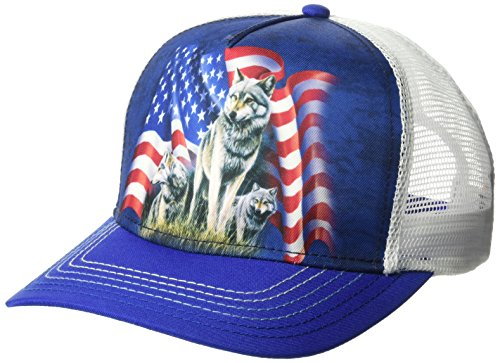 The Mountain Men's Patriotic Assorted Animals Flag Trucker Hat, Blue Wolf, One Size Fits - Wolf Trucker Hat
