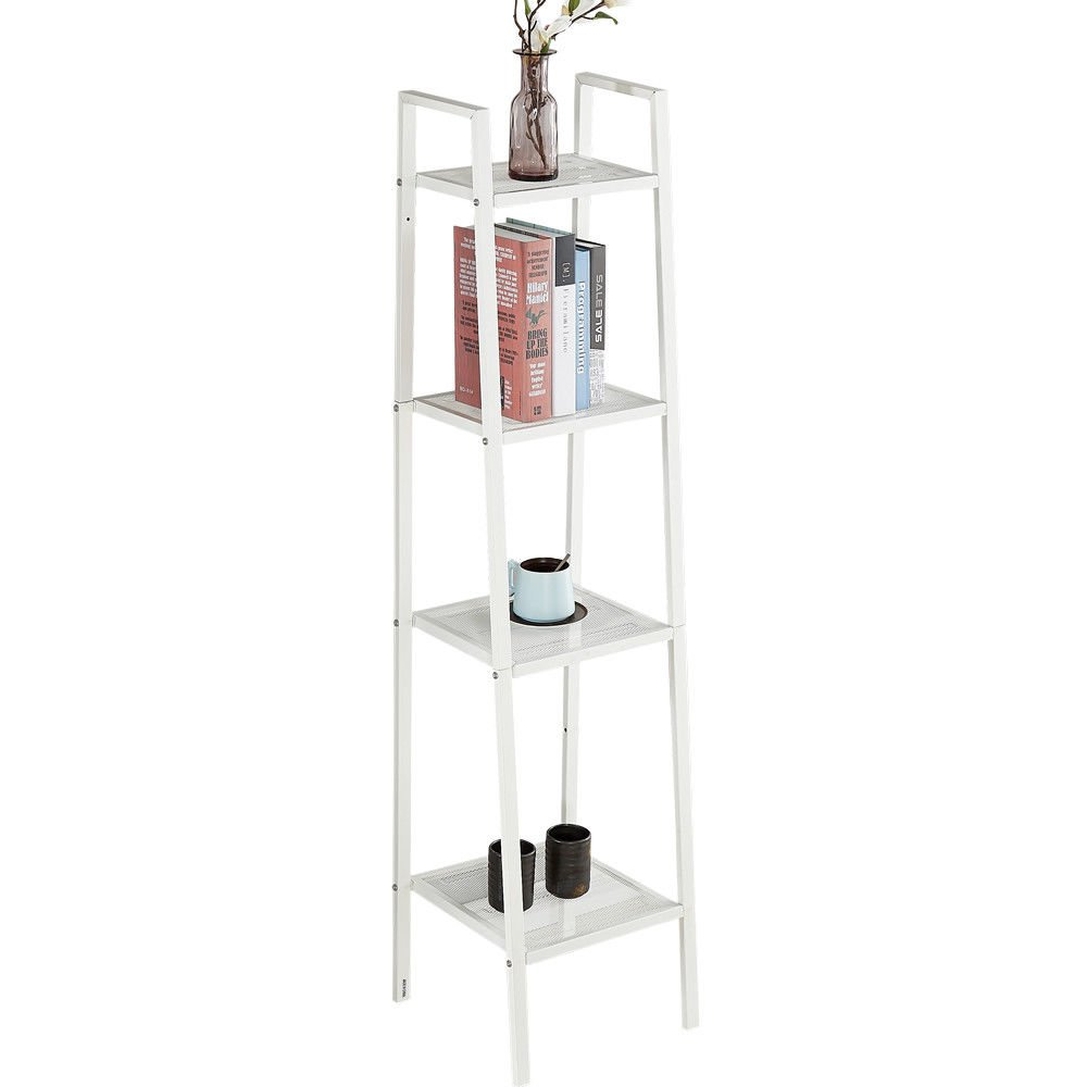 4 Tier Ladder Shelf Storage Bookcase Display Leaning Freestanding Steel Frame Wall Organizer Rack 35 * 35 * 148cm (White) Zerone