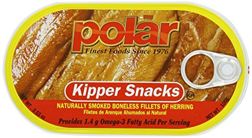 (Polar Kipper Snacks - Smoked & Boneless Herring Fillets (Pack of 4) 3.53 oz Cans)