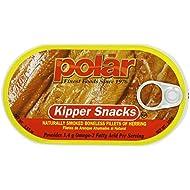 Polar Kipper Snacks - Smoked & Boneless Herring Fillets (Pack of 4) 3.53 oz Cans
