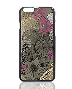 Black Butterfly & Flower Custom Hard Plastic back cell Phones Case for Apple iphone6 - iphone 6 4.7 inch Case Cover