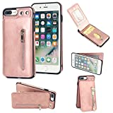 iPhone 7 Plus Wallet Case, iPhone 8 Plus Card Holder Case, 2 ID Credit Card Slot, Button Flip-Out Premium Leather Drop Protection Case Shock-Absorbing Case for Apple iPhone 7 Plus 8 Plus (Rose Gold)