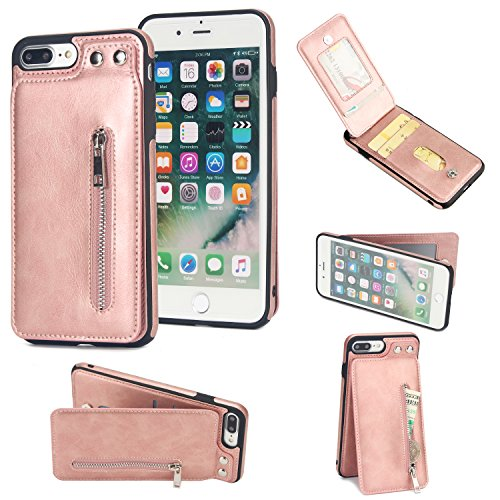 iPhone 7 Plus Wallet Case, iPhone 8 Plus Card Holder Case, 2 ID Credit Card Slot, Button Flip-Out Premium Leather Drop Protection Case Shock-Absorbing Case for Apple iPhone 7 Plus 8 Plus (Rose Gold) by SOGOLA