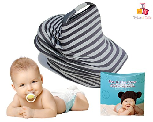 Tykes & Tails  Stripe Pattern 5 in 1 Baby Breastfeeding Cover and Trendy Scarf, Black / Gray