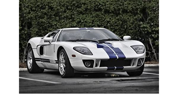 Amazon Com Ford Gt Right Front Two Tone Hd Poster Super Car Jumbo  Inch Print Posters Prints