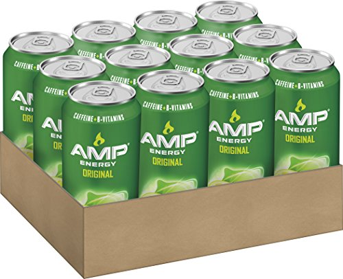 AMP ENERGY, Original, Caffeine, B Vitamins, 16 Ounce Cans (12 Count)