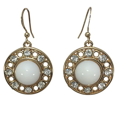 Simple Round Dot with Rhinestones Designer Style Drop Dangle Earrings (White Gold ()