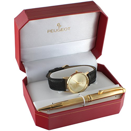 (Peugeot Men's Black Leather Watch Gift Set with Gold -Tone Pen)