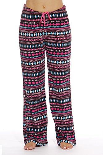 6339-10180-L Just Love Women's Plush Pajama Pants - Petite to Plus Size Pajamas,Black - Aztec Ribbon,Large