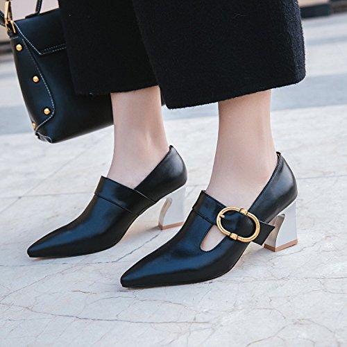Con Para Zapatos Tacón Cuero Herradura Bajo Muyii Black De Hebilla Metálica Mujeres Sandalias adqzOp4