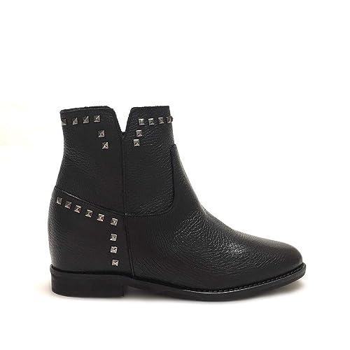 5669647da3c440 Shoe gar Stivaletti Neri con Borchie e Zeppa Interna Vera Pelle Made in  Italy  Amazon.it  Scarpe e borse