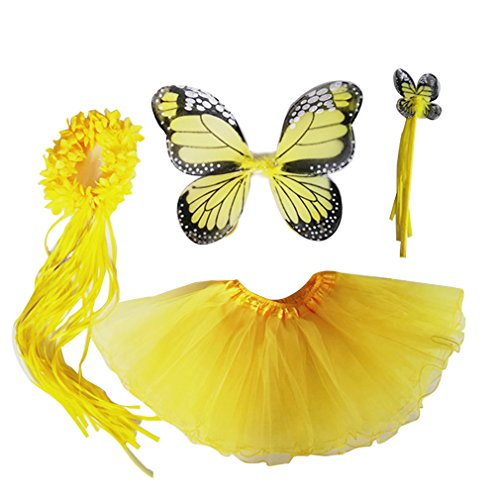 4 PC Girls Fairy Princess Costume Set with Wings, Tutu, Wand & Halo (Yellow)