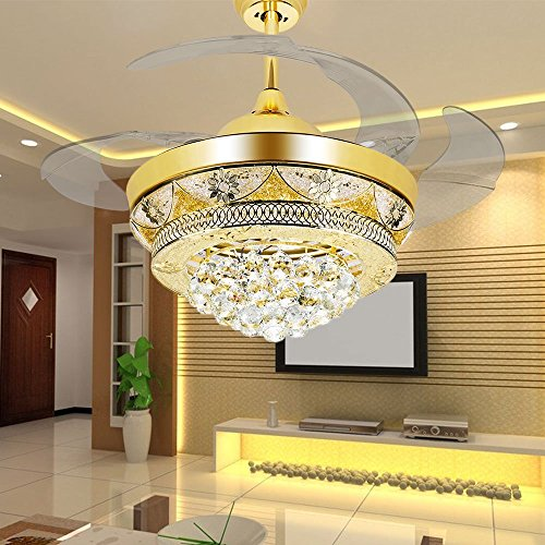 Modern Crystal Gold Ceiling Fan Light Kit For Living Room Bedroom - Ceiling fans with lights for living room
