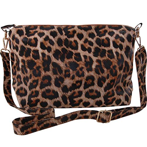 Humble Chic Crossbody Bag - Vegan Leather Satchel Messenger Handbag Shoulder Purse, Leopard, Brown