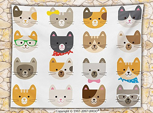 Kids Decor Fleece Throw Blanket Cats Costume with Glasses Bow Tie Bandana Cartoon Art Craft Pattern Print Pets Animal Lovers Print Throw