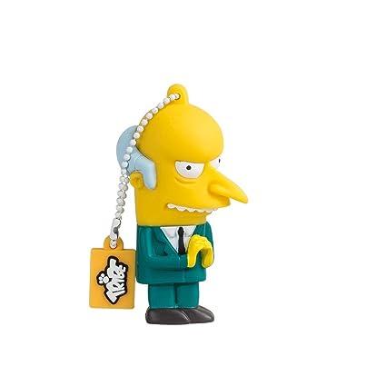 Tribe Los Simpsons Mr. Burns - Memoria USB 2.0 de 8 GB Pendrive Flash Drive de Goma con Llavero, Multicolor